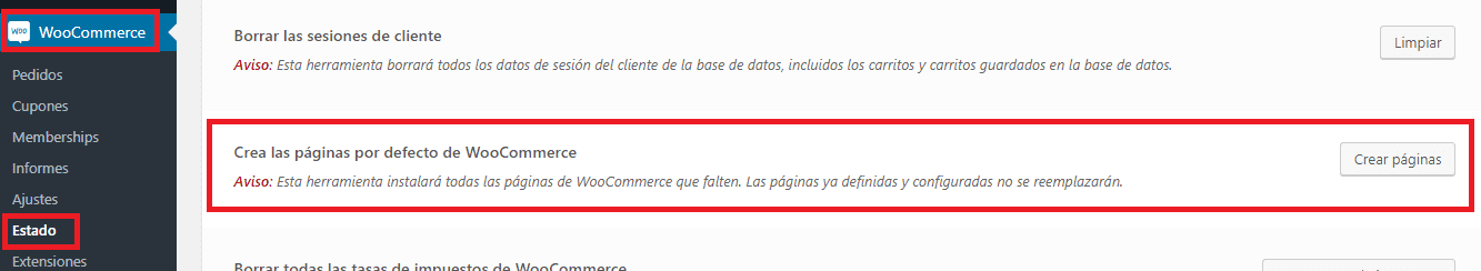 Cómo crear las páginas de WooCommerce automáticamente