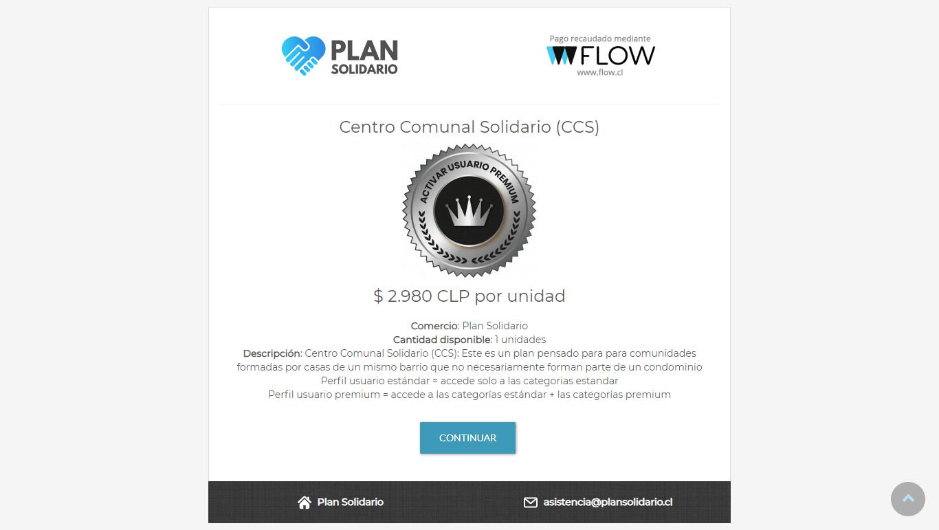 Plan Solidario - Pago directo con botón Flow