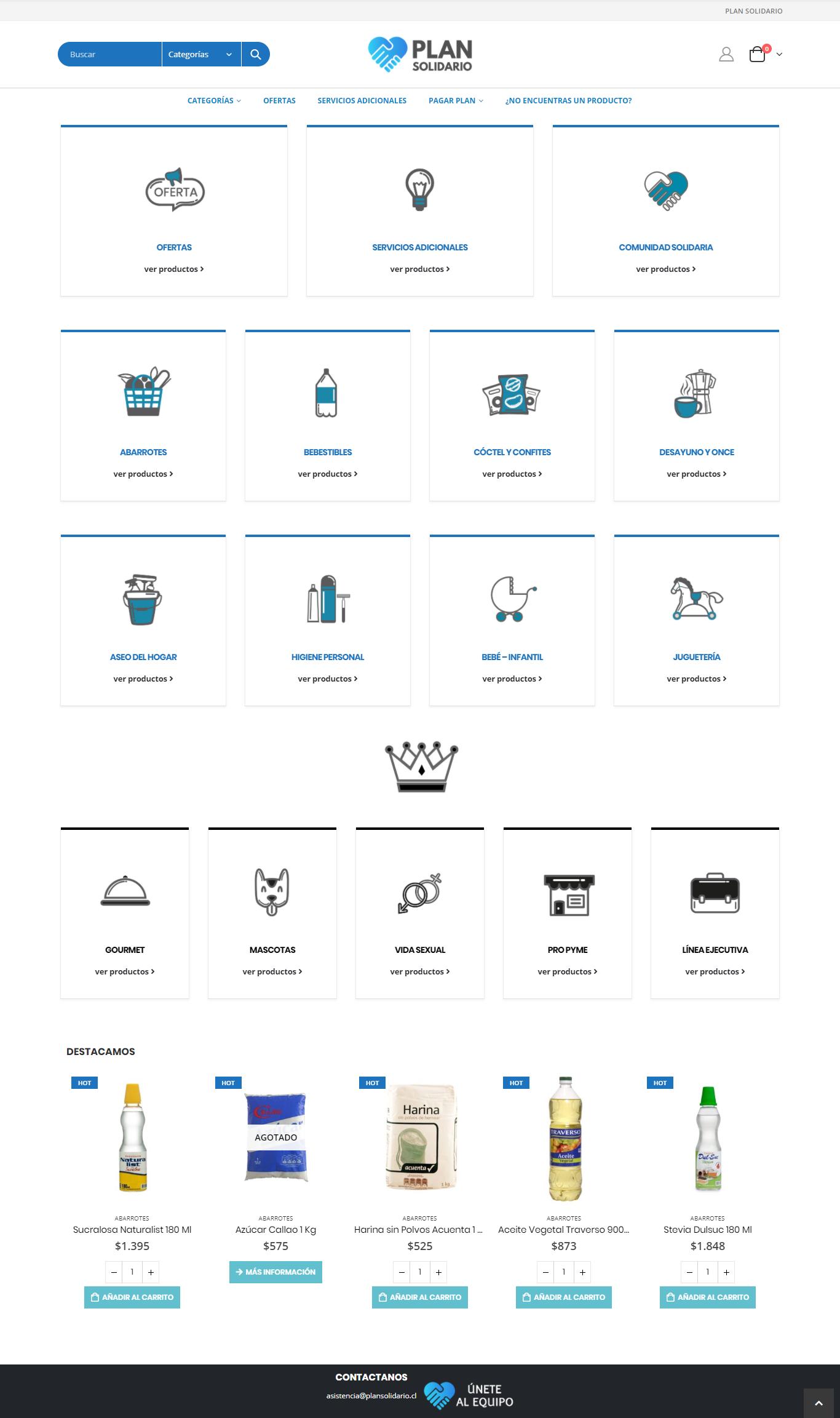 Plan Solidario - Página web desarrollada por Risi.cl