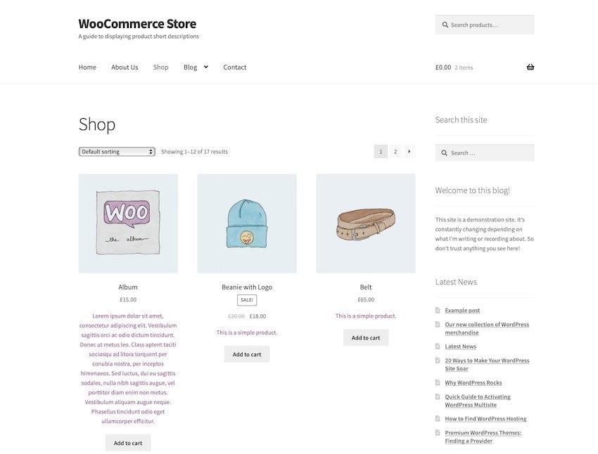 descripcion corta en producto woocommerce