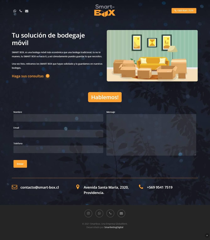 Landing page para Smart-Box desarrollado por Risi