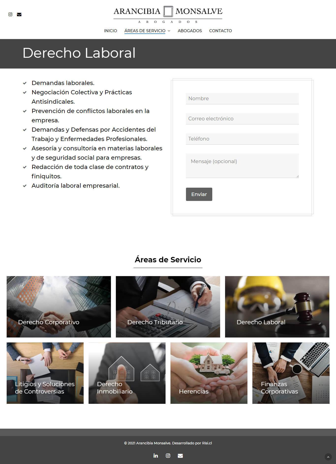 Arancibia Monsalve Abogados sitio web desarrollado por Risi.cl