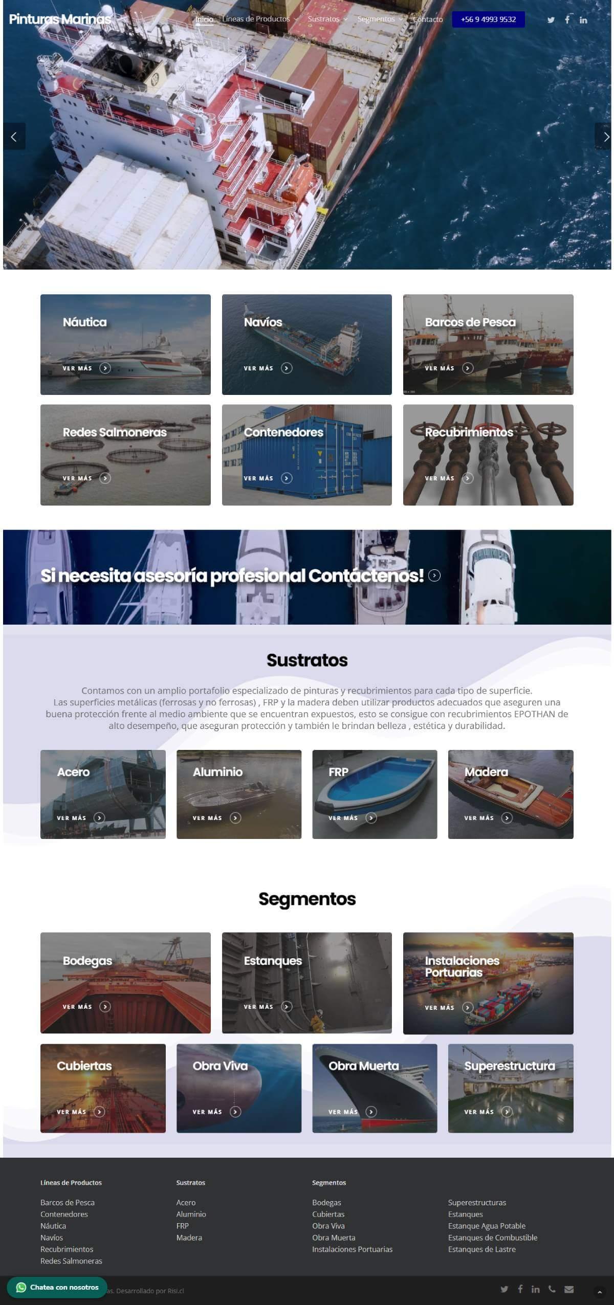 Pinturas Marinas - sitio web desarrollado por Risi