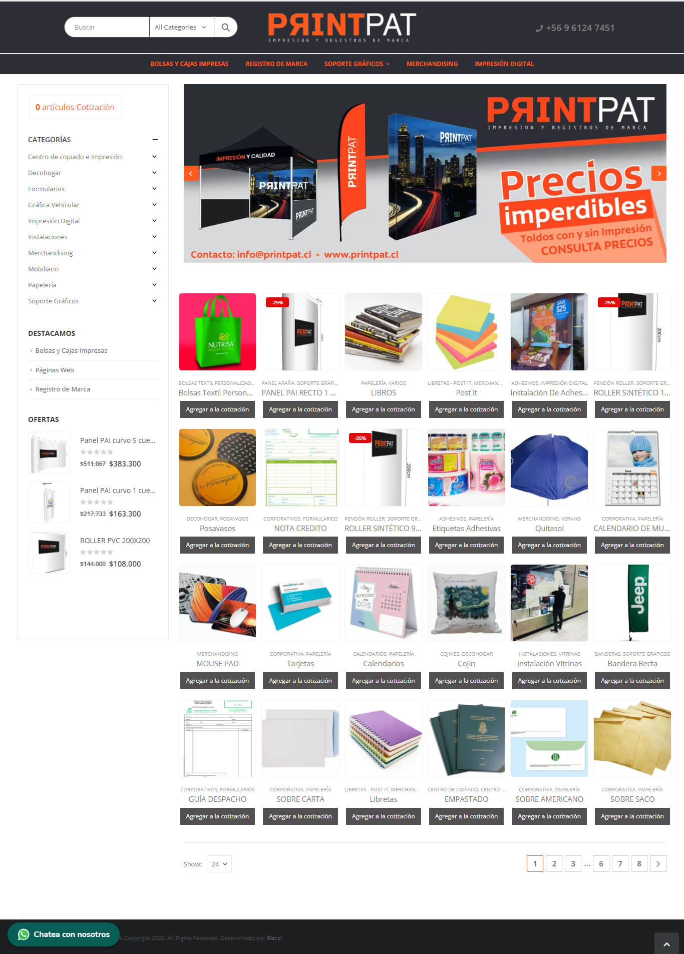 PrintPat sitio web desarrollado con Wordpress